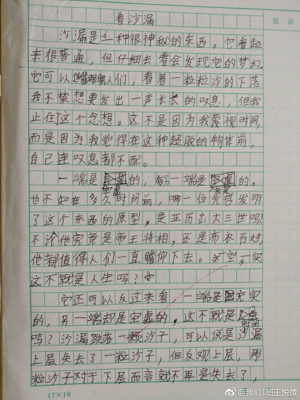 这个小学生的作文红了!网友:抄写并背诵全文
