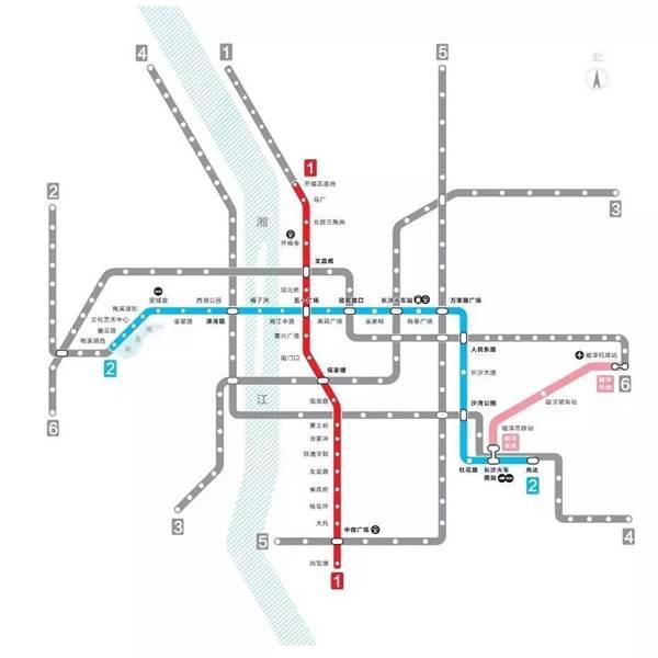 (长沙地铁线路图.)