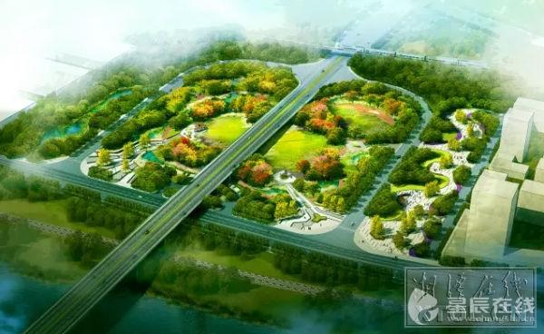 五大桥)高新区桥头公园效果图-湘潭五大桥交通优化及环境综合整治